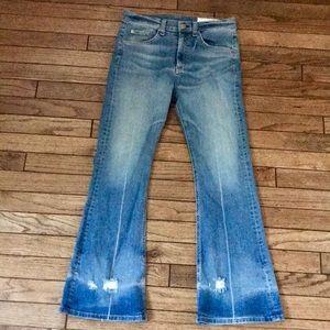 "Rag & Bone 10"" High Rise Cropped Flare Jeans"